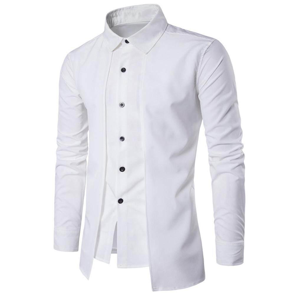 521b54372b3 Men Casual Shirt Slim Fit Long Sleeve Fake Two Pieces Business Dress Shirt  Top