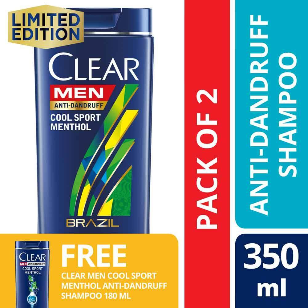 Clear Men Cool Sport Menthol Anti Dandruff Shampoo 350 Ml X2 Foc