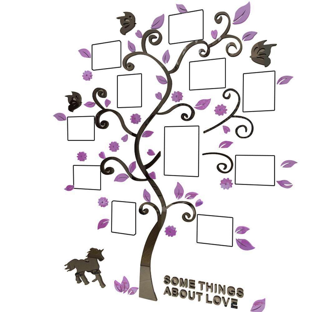 Leegoal Wallpaper Bingkai Foto Berwarna-warni Pohon 3D Akrilik Dekorasi Stiker Dinding DIY Seni Buku