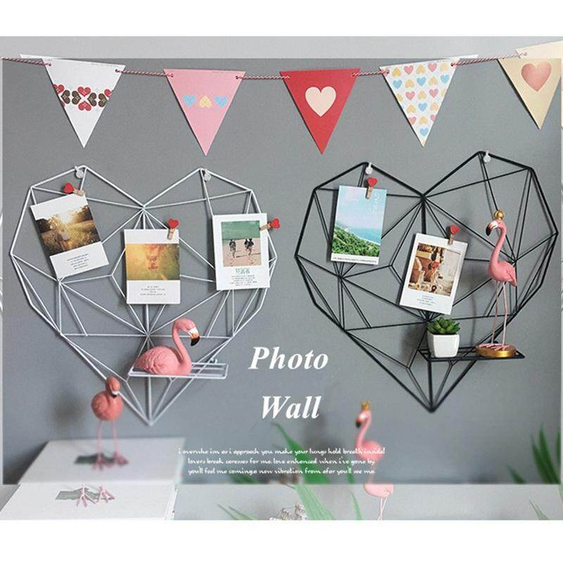 Iron Heart-shaped Photo Grid Frame Wall Photos Grids Postcards Mesh Frame Home Bedroom DIY Decoration 50*50.5CM