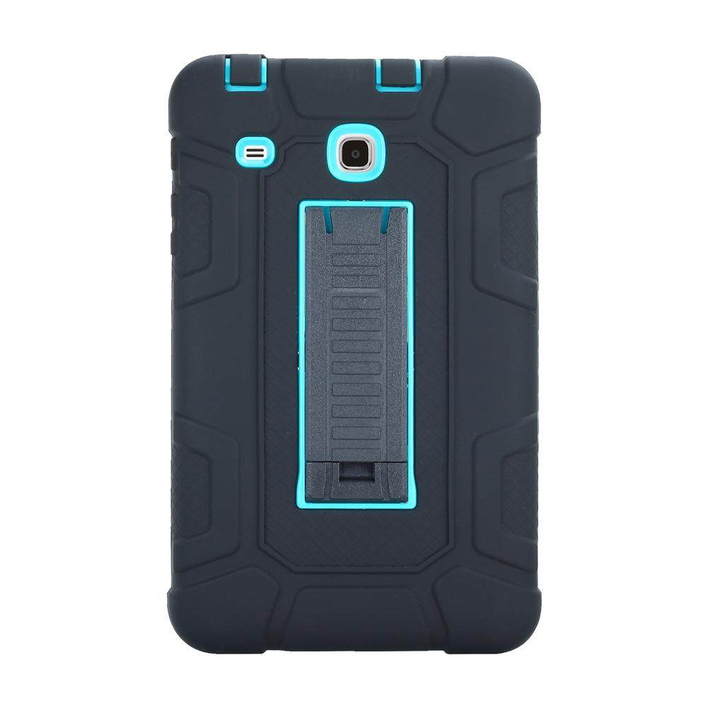 Three Layer Kickstand Hybrid Rugged Heavy duty Shockproof Anti-Slip Case Full Body Protection Cover for Samsung Galaxy Tab E 8.0 (T377/T375) Black+Blue