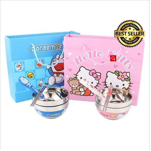 【Doraemon】4 In 1 Baby Stainless Steel Cartoon Bowl , Spoon and Chopstick set