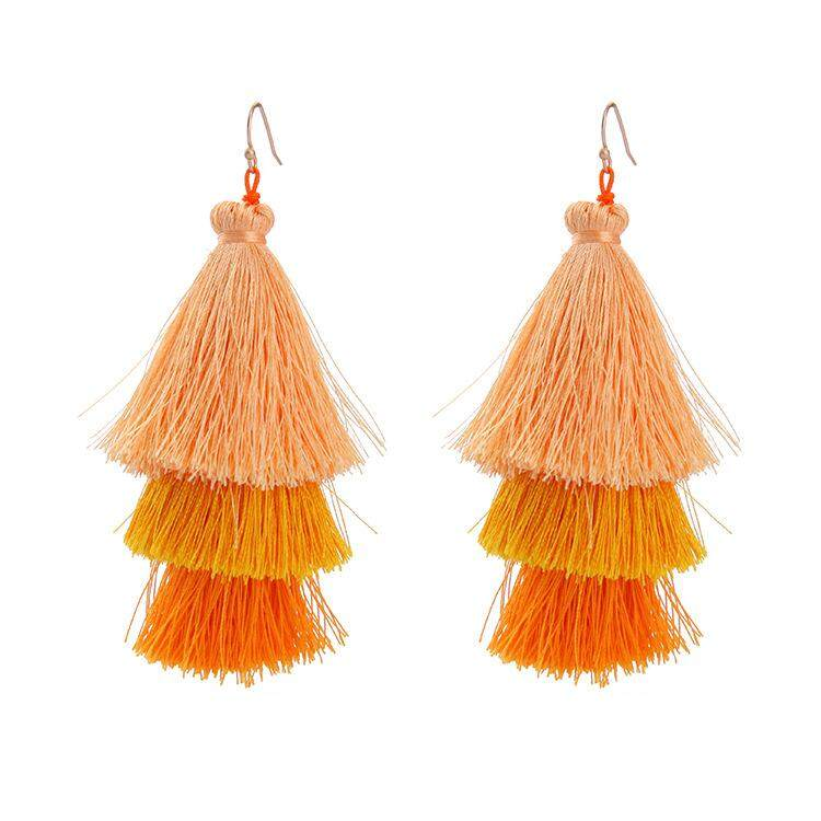 Bohemia Statement Tassel Earrings Gold Color Round Drop Earrings for Women  Wedding Long Fringed Earrings Jewelry 8bdcc0daed3a