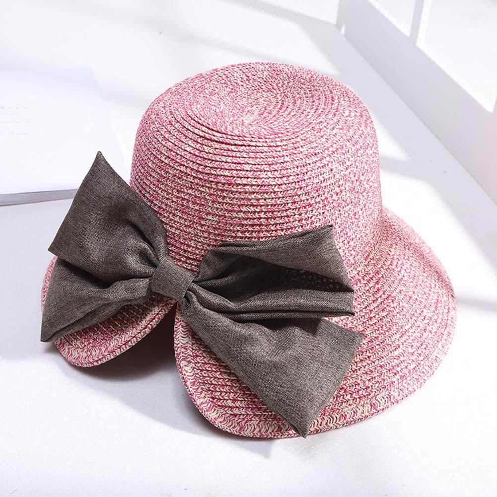Wanita Sedotan Musim Panas Topi Liburan Pantai Topi Matahari Pinggiran Topi Lebar Lembek Ikatan Simpul Outdoor