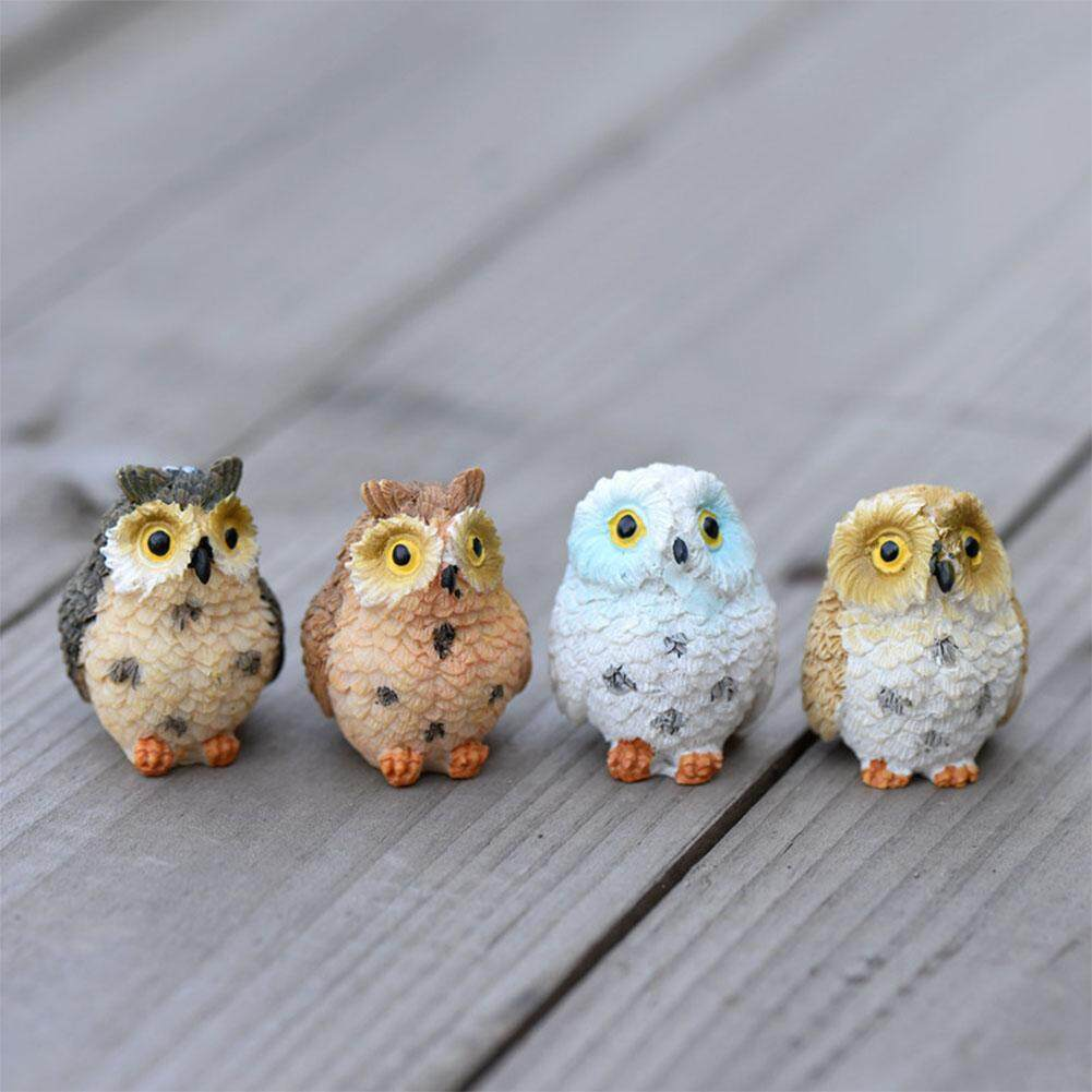 YANYI Mini Cute Cartoon Owl Shape Adornment for Plant Pots Fairy Garden Decor Ornament