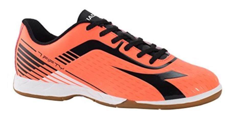 Diadora 7 Fifty ID Pria Sepatu Sepak Bola Dalam Ruangan (4 D (M) US Men 'S red Fluo/Hitam)-Intl