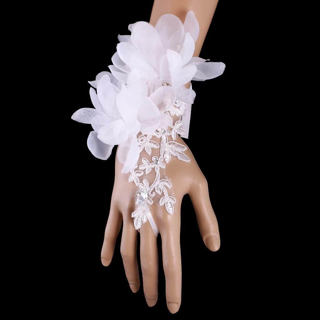 Bolehdeals Elegant Wedding Short Fingerless Fabulous Lace Flower Gloves Rhinestone Evening Party Women Ladies Bridal Gloves - Intl By Bolehdeals.
