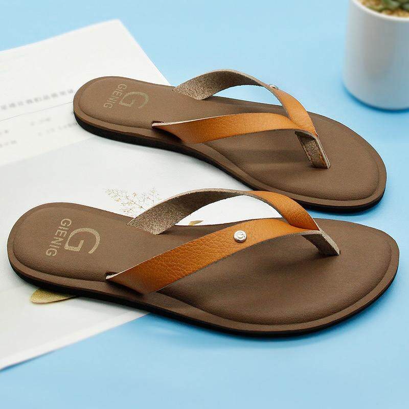374f58f48afe49 GieniG Women Leather Flip Flops Korean Fashion Leisure Bohemian Hawaii  Slippers Ladies Summer Comfortable Beach Flat