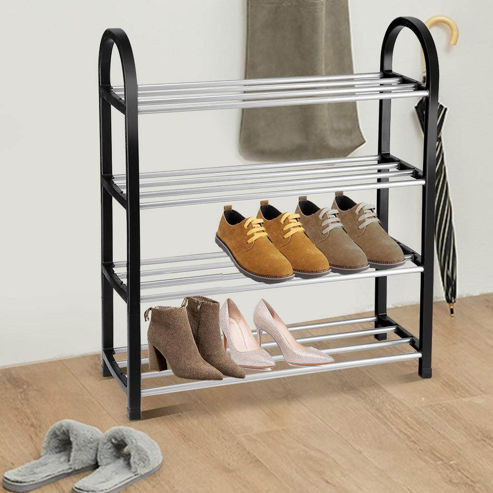 Plastic + Aluminum Metal Standing Shoe Rack DIY Shoes Storage Shelf Home Organizer (4 Tiers)
