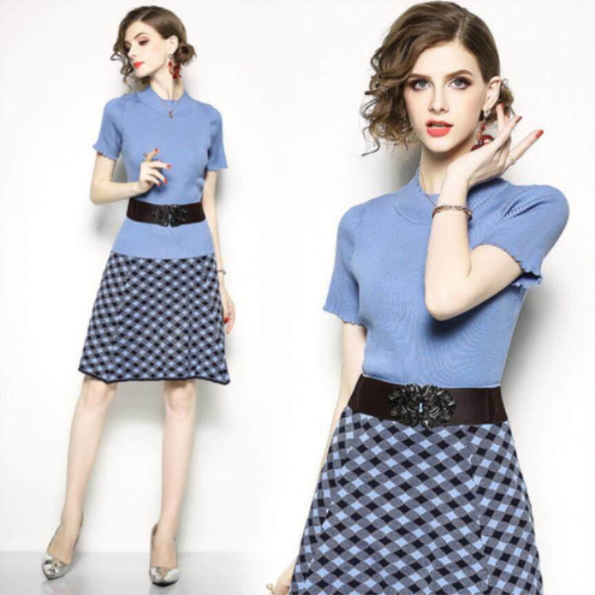 4c76af82a European Summer New Women's Fashion Temperament O-neck Sweater Skirt Dress  Set To Send Two