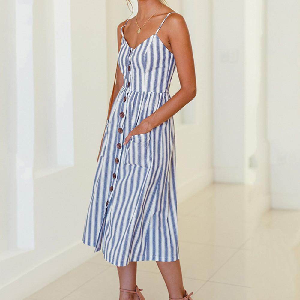 a567a4583ab52 Dress Womens Holiday Striped Ladies Summer Beach Buttons Party Dress  Sousashop