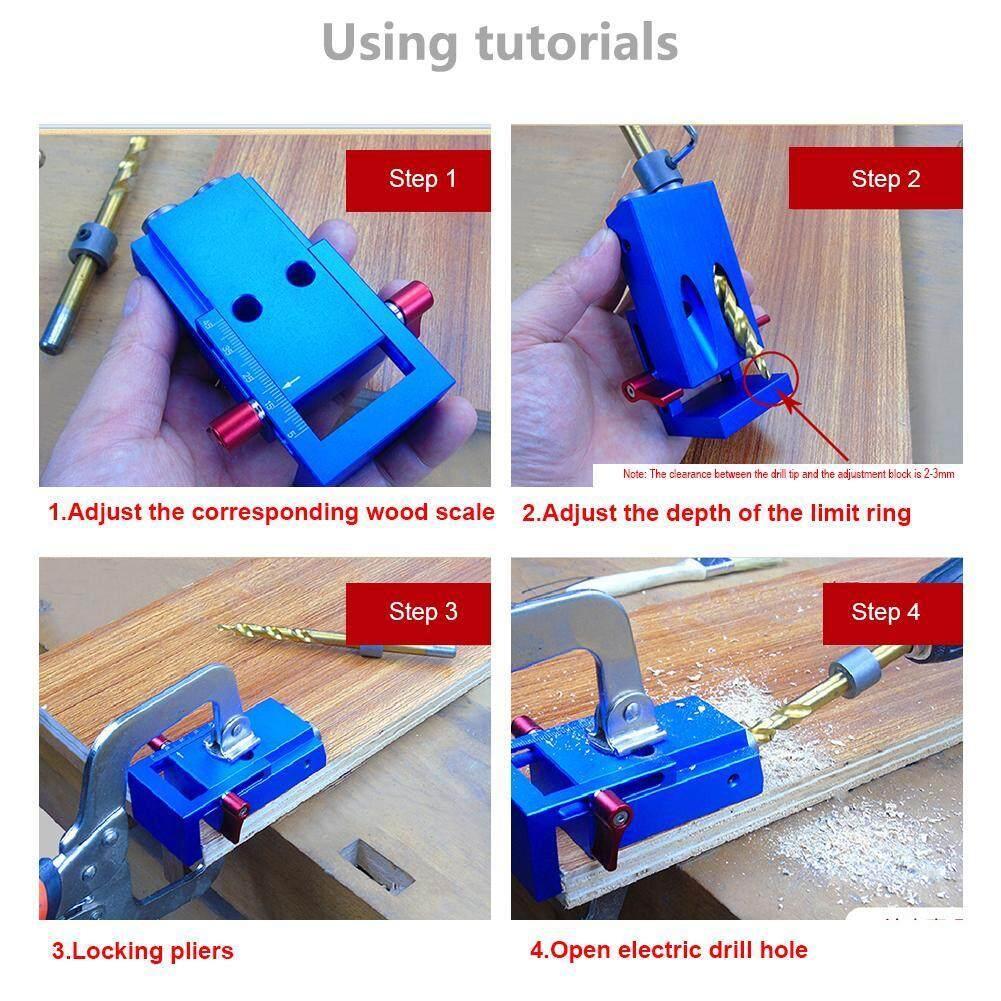 Fitur High Quality Pocket Hole Jig Kit Screwdriver Step Drill Bit