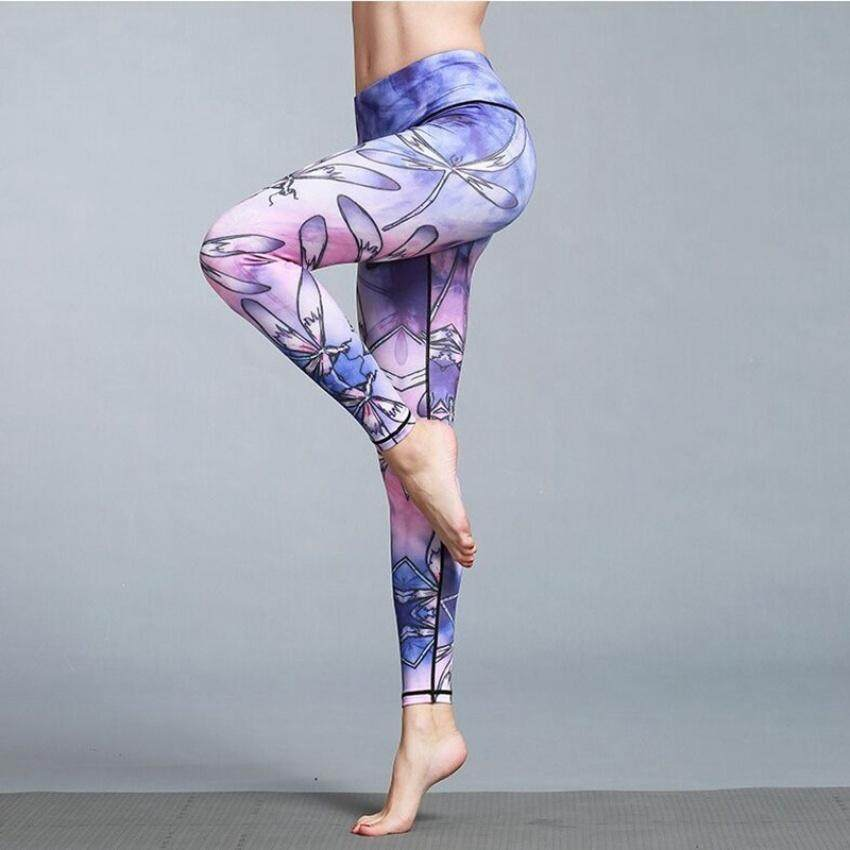 TF New Sports Women's Pants Animal printed Yoga Motion Tight Elastic Training Bodybuilding pants(Dragonfly) - intl