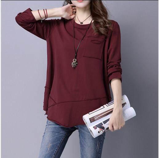 COCOEPPS 2019 200 catties New Women s Autumn Plus size Loose Long sleeve Cotton  Long sleeve t 84d2bcf1d231