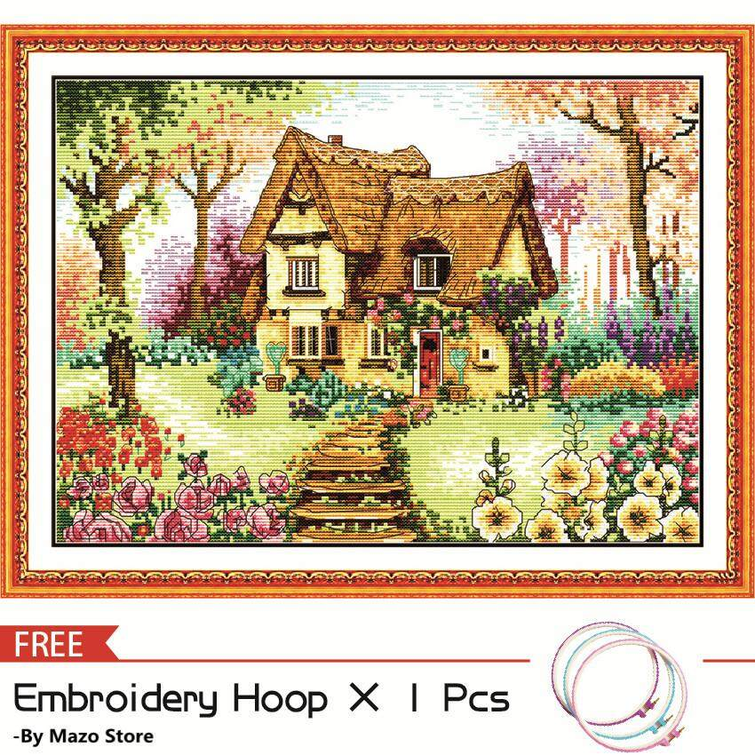 Cross Stitch, Cabin Landscape Scenery Coconut Palm Pattern, Joy Sunday DIY Handmade 3D Printed Fabric 11CT 14CT Counted Needlework Embroidery Cross Stitch Kit