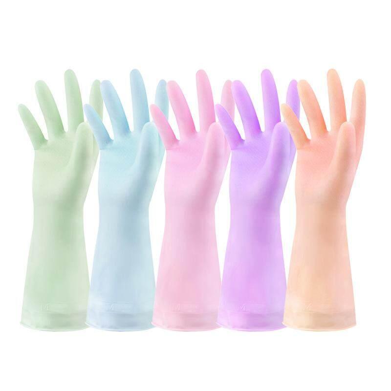 Bagian Tipis Lateks Sarung Tangan Karet Rumah Tangga Karet Dapur Mangkuk Bersih Mencuci Pakaian Karet Tahan Air Sarung Tangan Rumah Tangga-ORANGE