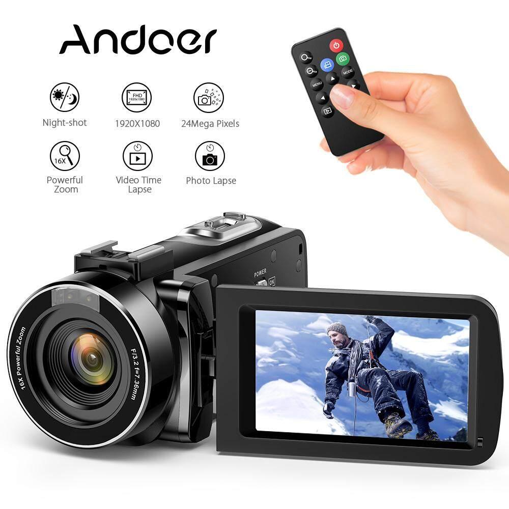 Andoer Fhd 1080 P Portable Digital Video Camecorder Kamera Inframerah Modus Malam 3.0 Berputar Layar Lcd 16x Digital Zoom 24mp Dengan Pengendali Jarak Jauh By Tomtop.
