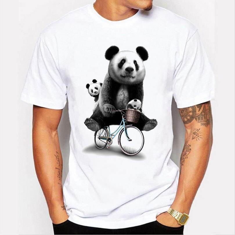 9fb1147b77e3 Men s Summer Cute Cycling Printing Panda Fashion Wild White Casual Short-sleeved  T-shirt