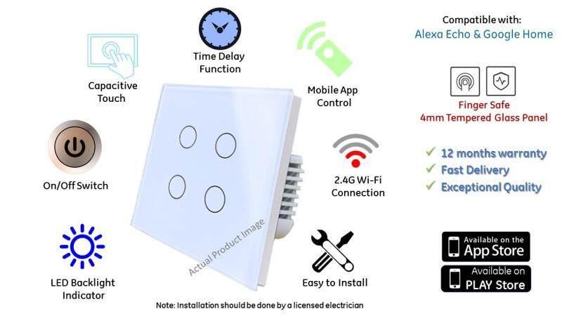 4 Gang Wifi Switch UK Spec for Alexa Echo / Google Home (White)
