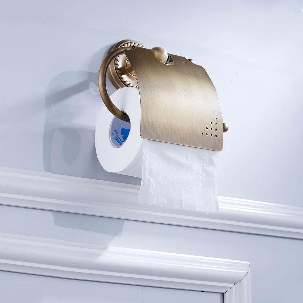 BolehDeals Bathroom Toilet Paper Holder Roll Brass Tissue Storage Rack Wall Mounted