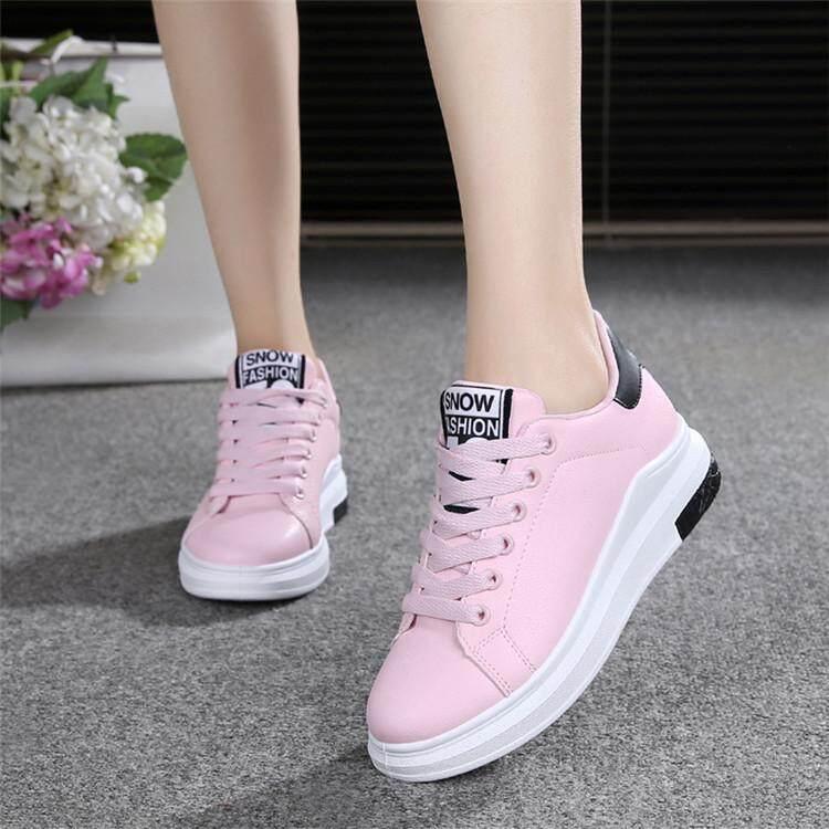 Di Musim Semi Han Ban Tali Daftar Sepatu Sepatu Wanita Anak Besar Muda Bedak Wanita Warna Kulit Mie Sepatu Kasual Awal Datar Bawah sepatu Atletik Sekolah Tinggi Siswa-Internasional