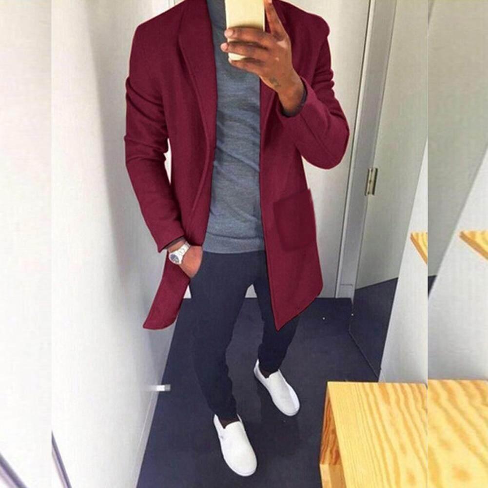 Detail Gambar Pria Mantel Musim Dingin Jaket Penahan Angin Warna Solid Katun Lembut Santai Lengan Panjang