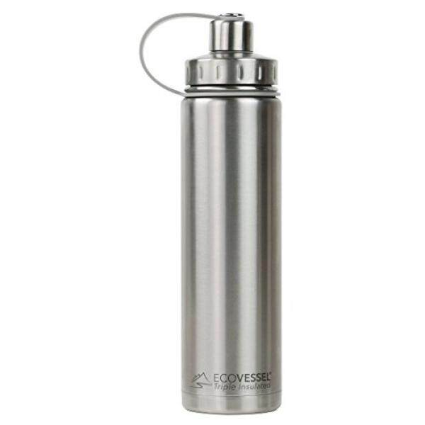 EcoVessel BOULDER TriMax Dual Opening Insulated Stainless Steel Water Bottle with Tea - Fruit and Ice Strainer - 24 oz. - Silver Express - intl