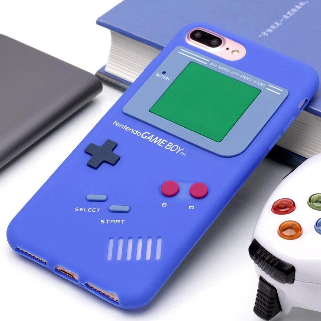 Untuk iPhone 8 PLUS dan 7 Plus Retro 3D Mesin Permainan Desain Lembut Silikon Pelindung Case (Gelap Biru) -Internasional