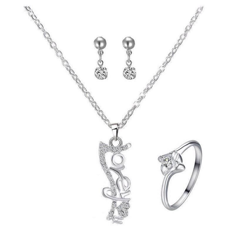 1 Set Baru Perhiasan Berlian Imitasi Modis Liontin Cinta Anting-Anting Kalung Cincin Perak-Intl