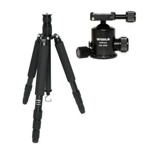 Feisol Traveler Tripod 4 Section Carbon Fiber Tripod with CB-40D Ball Head, Supports 44 lbs., Max Height 73.6