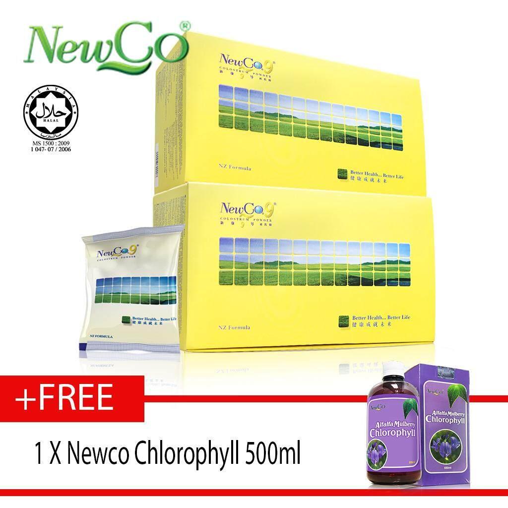 NewCo9 Colostrum Powder milk 2 X 16 sachests FREE NEWCO CHLOROPHYLL 500ml
