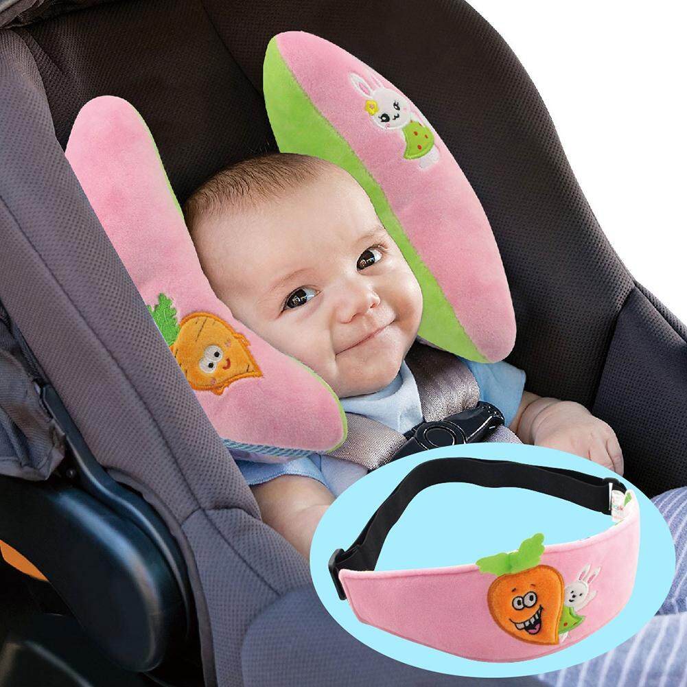 Infant Car Headrest Set Rabbit and Carrot Cartoons Pillow Support Head Band for Baby Girls Kids