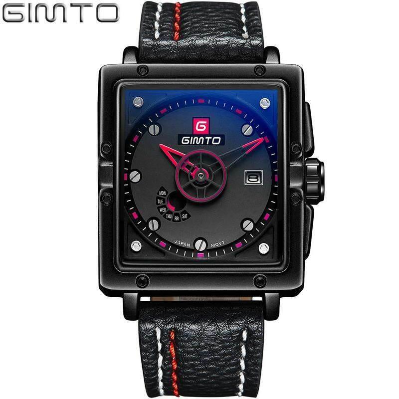 GIMTO Square Sport Mens Watch Fashion Quartz Analog Military Watch Date Waterproof Watch Male Watches Hours Relogio Masculino GM223 Malaysia