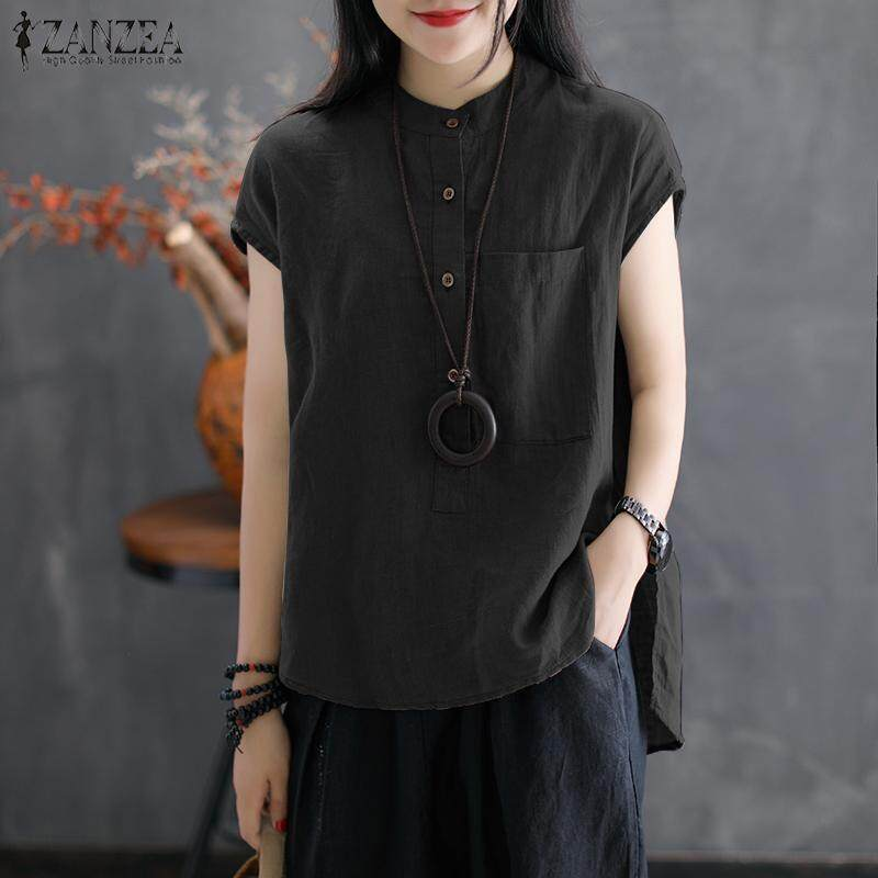9ad3d773c59ae8 ZANZEA Women Button Up Basic Tee T Shirt Top Loose Plus Size Tunic Blouse