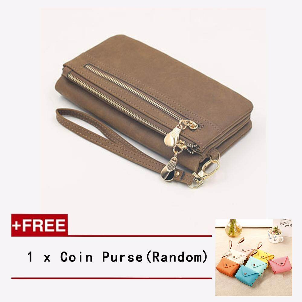 High Quality Fashion Women Wallets PU Leather Wallet Female Double Zipper Clutch Coin Purse Ladies Wristlet + Free 1 Coin Purse