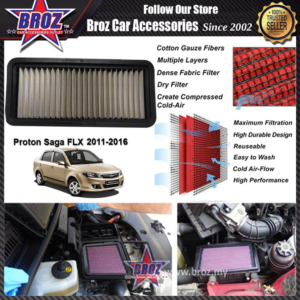 PROTON SAGA FLX RACING PERFORMANCE DROP IN CAR REUSABLE AIR FILTER (SAVE FUEL,SAVE MONEY & INCREASE ENGINE POWER) - H 3CM X W 14CM X L 32CM - Increases Horse and Response Power: 5% - 20%