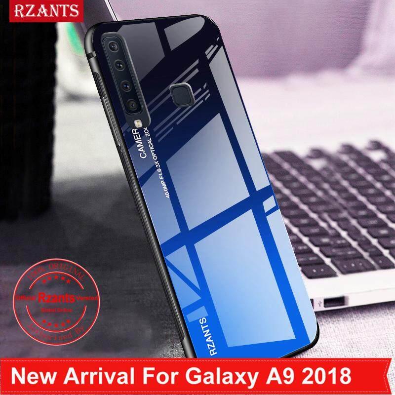 Rzants untuk Samsung Galaxy A9 2018 Casing【gradient】smooth Kaca Antigores Ultra-Tipis Shockproof Hard Kembali Sarung Telepon Genggam