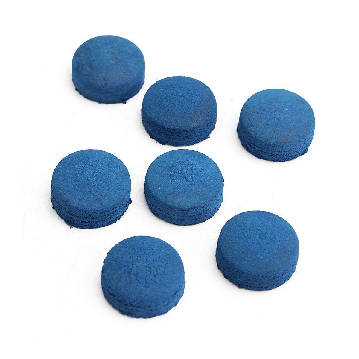 Hình ảnh 50 Pcs Glue-on Pool Billiards Leather Blue Cue Tips Box Game Sport # 9mm