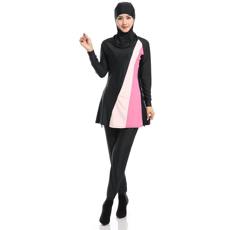 Litao Wanita Plus Ukuran Muslim Baju Renang Pantai Mandi Setelan Wanita Konservatif Muslimah Baju Renang Islami Berenang Berselancar Pakaian Olahraga Pakaian Hitam XL-Internasional