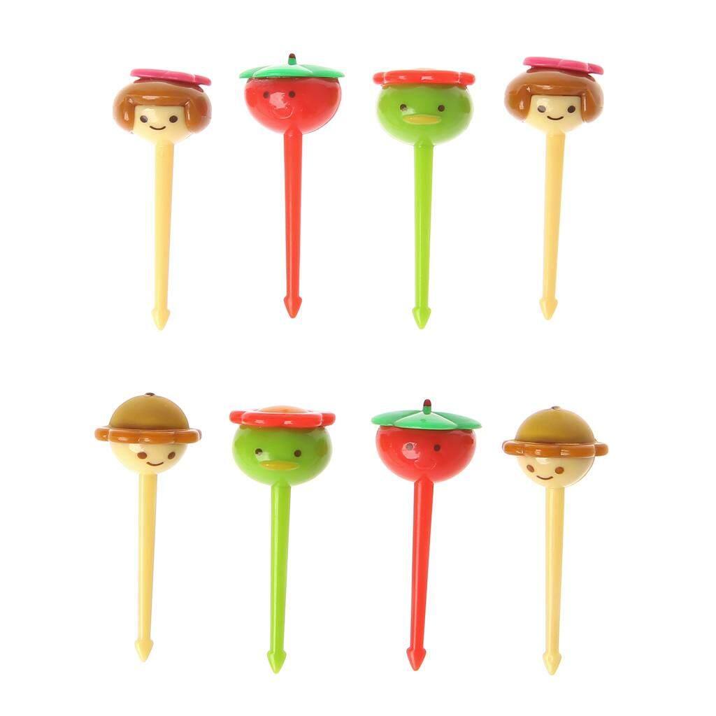 6 Pcs Mini Kawaii Animal Farm Garpu Motif Kartun Buah Tanda Tusuk Gigi Bento Makan Siang