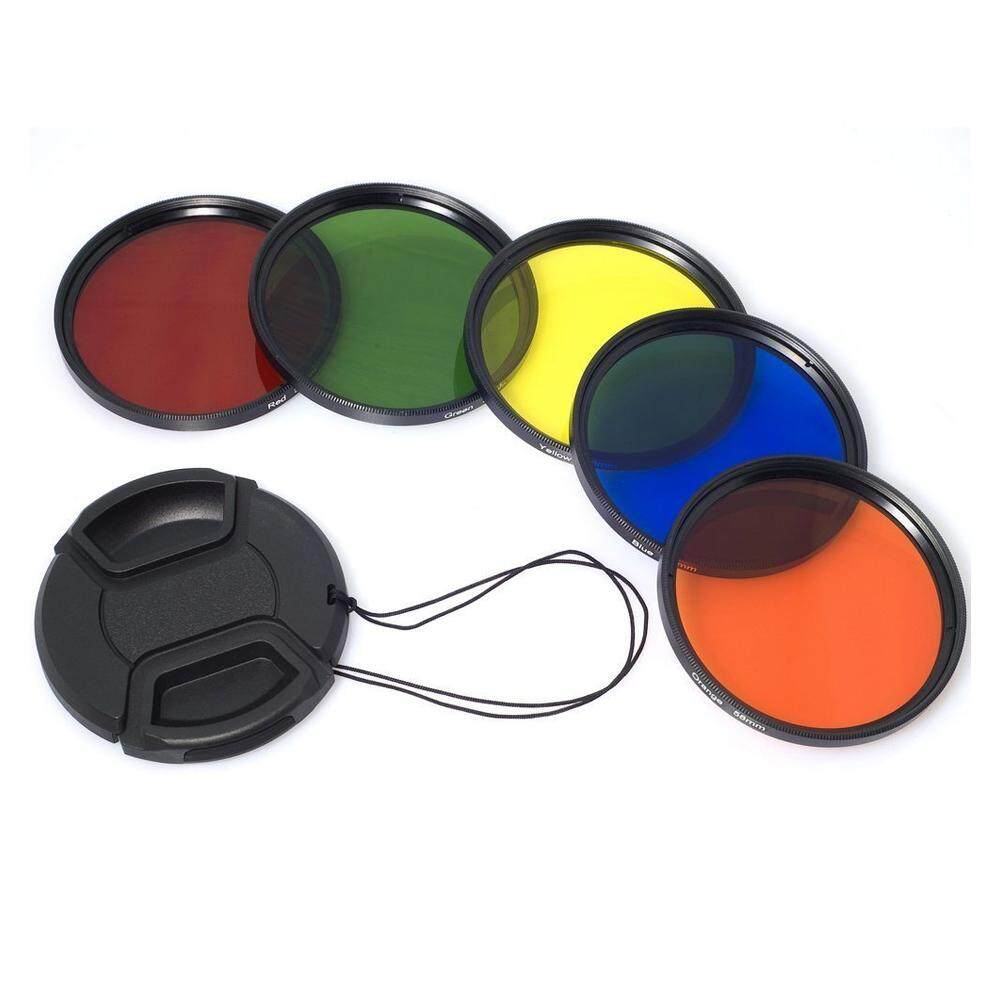 58mm Color Filter Blue Yellow Orange Red Green + Lens Cap + Bag for Canon 70D 60D 700D 650D 1100D