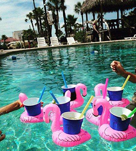 6pcs /Pack Cute Inflatable Flamingo Drink Can Bottle Holders Floating Pool Bathing Beach Party Kid