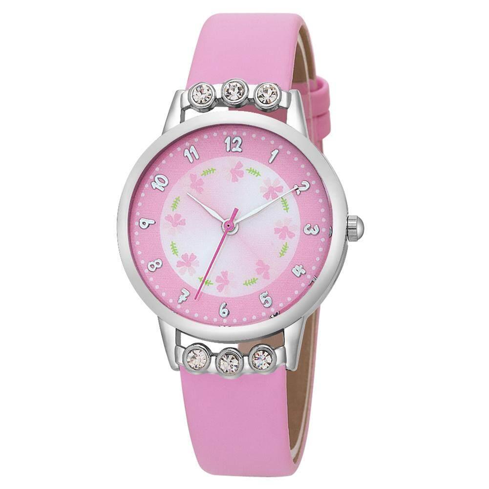 Nơi bán DS Gescar Thời trang nữ Dễ Thương Đồng hồ kim cương giả Tròn mặt số đồng hồ thạch anh Đồng Hồ Đeo Tay có dây đeo bằng da