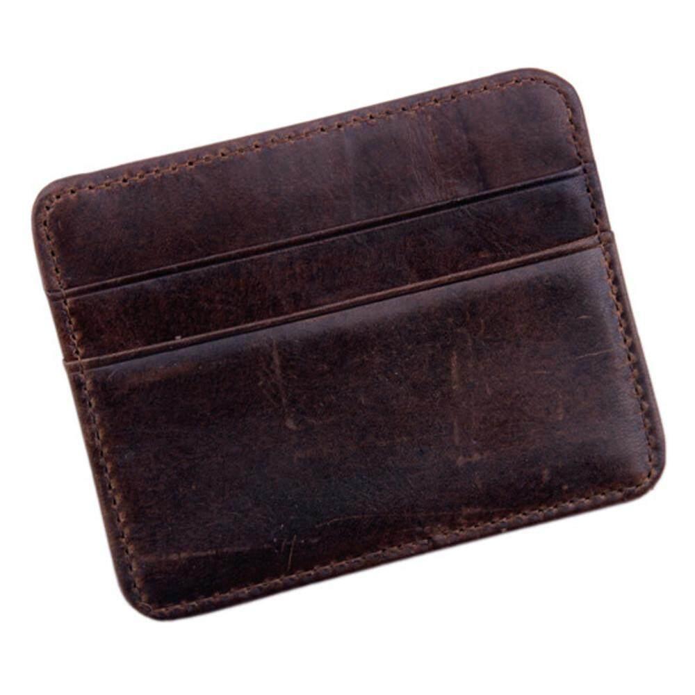 ผู้ชายผู้หญิงหนังขนาดเล็กรหัสบัตรเครดิตกระเป๋าสตางค์แบบถือ Slim กระเป๋า By Sykesshop.