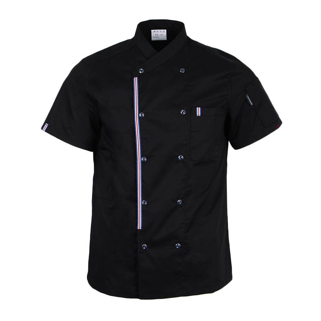 Magideal Women Men Chef Jackets Coat Short Sleeves Shirt Kitchen Uniforms M Black By Magideal.