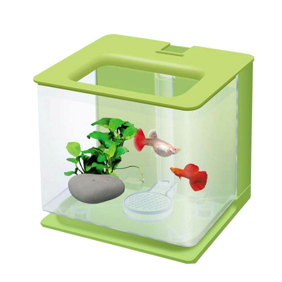 Acrylic Betta Clear Box Mini Desktop Office Aquarium Home Decoration Creative Fish Tank Self Clean Green By Moonbeam.
