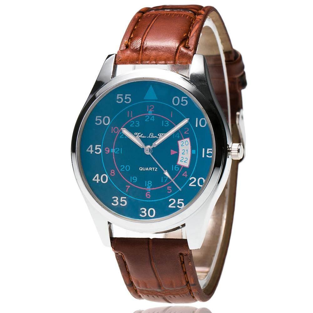 VRE Toko Jam Fashion Gelang Kulit Pria Jam Tangan Olahraga Analog Tanggal Kuarsa Wrist Watch Wh