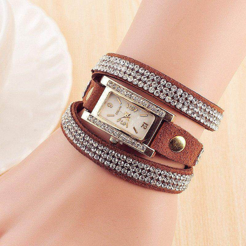 Nơi bán Chux Winding 3 Rings Chain Watch Fashion Rectangle Watch Strap Glass Mirror Quartz Movement Precise Time