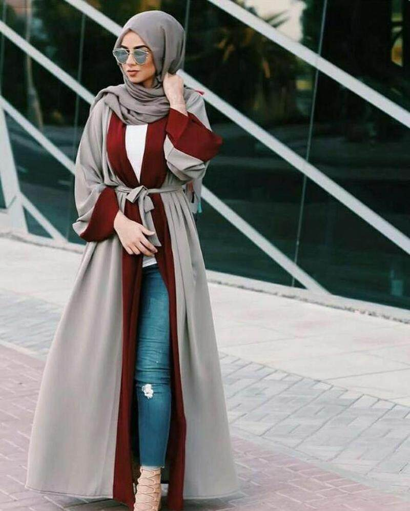 7d06da4606589 Muslim Women Abaya Maxi Dress Cardigan Jilbab Loose Style Dubai Middle East  Long Robe Moroccan Ramadan