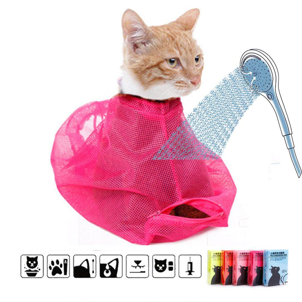 Cat Grooming Bathing Bag Mesh Anti-Scratch Anti-Bite Nail Trimming Injecting Examining Cat Washing Bag Pet Supply By Anboll Store.